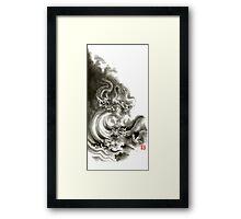 Two dragons gold fantasy dragon design sumi-e ink painting dragon art Framed Print