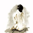 Woman geisha erotic act ?? Japanese ink painting by Mariusz Szmerdt