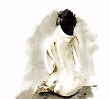 Woman geisha erotic act 女性 Japanese ink painting by Mariusz Szmerdt