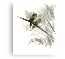 Sparrows sumi-e bird birds on branches original ink painting artwork Metal Print