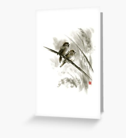 Sparrows sumi-e bird birds on branches original ink painting artwork Greeting Card