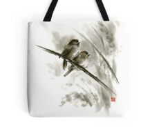 Sparrows sumi-e bird birds on branches original ink painting artwork Tote Bag
