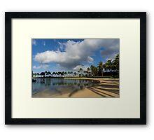 Shadows of Palms - a Lagoon in Waikiki, Honolulu, Hawaii Framed Print