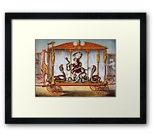 Circus performer covered in snakes vintage image Framed Print