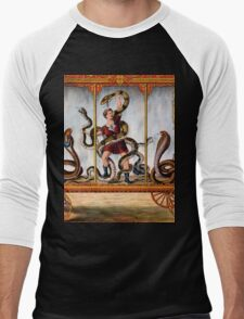 Circus performer covered in snakes vintage image Men's Baseball ¾ T-Shirt