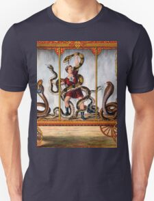 Circus performer covered in snakes vintage image Unisex T-Shirt