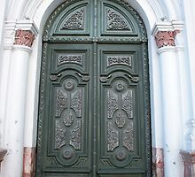 Carved Green Church Door by rhamm