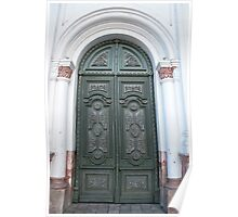 Carved Green Church Door Poster