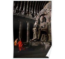 Buddhists at Elora Poster