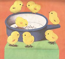Seven Chicks Around The Pot by WoodenDuke