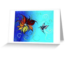Abstract HUMMINGBIRD / FLOWER ART, Original design from J. Vincent, COLORFUL, MUST SEE Greeting Card