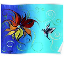 Abstract HUMMINGBIRD / FLOWER ART, Original design from J. Vincent, COLORFUL, MUST SEE Poster