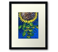 SUNFLOWER and ABSTRACT FISH Print, Beautiful, Fish Design creates Flower, MUST SEE Framed Print
