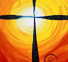 Christian Cross Art, Abstract, WARM Sunset, COLORFUL, Deep, Original Design from J. Vincent by 17easels