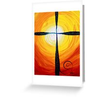Christian Cross Art, Abstract, WARM Sunset, COLORFUL, Deep, Original Design from J. Vincent Greeting Card