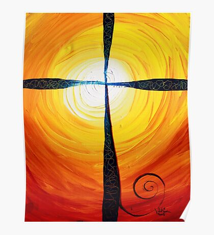 Christian Cross Art, Abstract, WARM Sunset, COLORFUL, Deep, Original Design from J. Vincent Poster