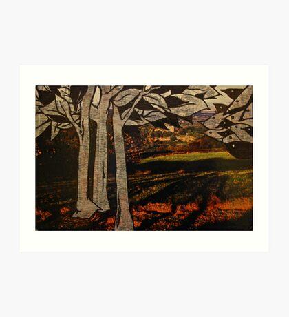 paper trees & pod birds  Art Print