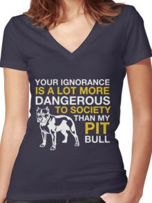 MY PIT BULL Women's Fitted V-Neck T-Shirt