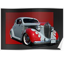 1938 Plymouth Coupe (primer with flames) Poster