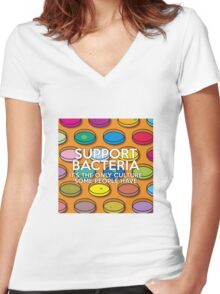 SUPPORT BACTERIA Women's Fitted V-Neck T-Shirt