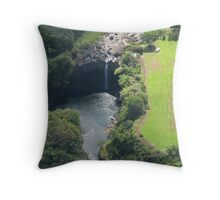 Waterfall from Helicopter, Hilo Throw Pillow