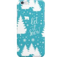 Let it snow hand lettering winter holiday pattern iPhone Case/Skin