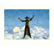 The Gunslinger Blue Art Print