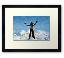 The Gunslinger Blue Framed Print