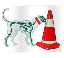 DOG & TRAFFIC RUBBER CONE Poster