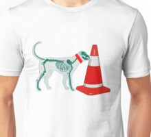 DOG & TRAFFIC RUBBER CONE Unisex T-Shirt