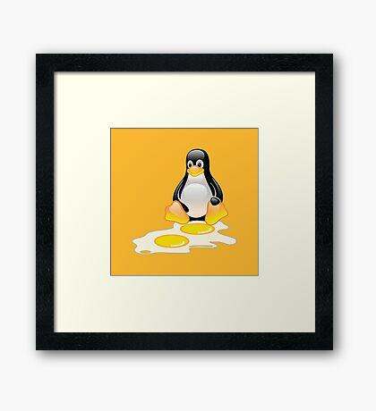 LINUX TUX PENGUIN TWINS SUNNYSIDE UP  Framed Print