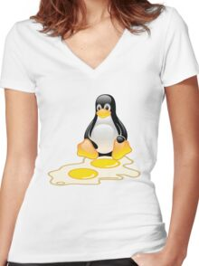 LINUX TUX PENGUIN TWINS SUNNYSIDE UP  Women's Fitted V-Neck T-Shirt
