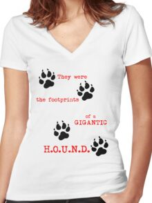 The Footprints of a Gigantic H.O.U.N.D. Women's Fitted V-Neck T-Shirt