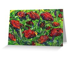red peonies, 2x3 inch miniature acrylic on canvas Greeting Card