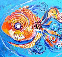 Expressive abstract FISH ART / design from J. Vincent Scarpace !! AWESOME, Must see !! by 17easels