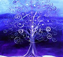 WINTER TREE, Abstract Tree Art, COLD, Beautiful Blues, Violets, NICE!! Must see!! by 17easels