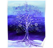 WINTER TREE, Abstract Tree Art, COLD, Beautiful Blues, Violets, NICE!! Must see!! Poster