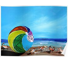 Sunny Beach Scene, with flirty crabs !! Bright, cheerful, artsy painting from J. Vincent Poster