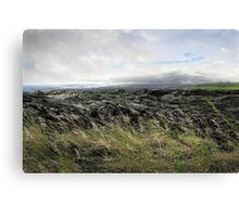 Waves of clouds, sea, lava and grass Canvas Print