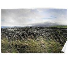 Waves of clouds, sea, lava and grass Poster