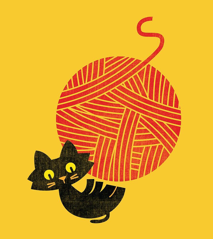 Happiness - cat and yarn by Budi Satria Kwan