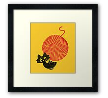 Happiness - cat and yarn Framed Print
