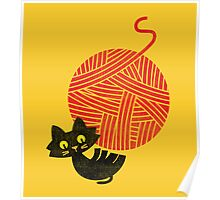 Happiness - cat and yarn Poster