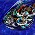 Four Makes Five (School of Family), Abstract FISH ART, J. Vincent, COOL FISH ART by 17easels