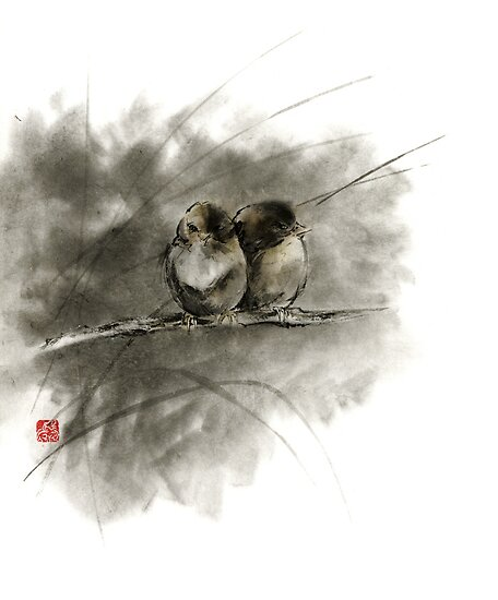 A pair of sparrows two birds brown bird original ink painting artwork by Mariusz Szmerdt