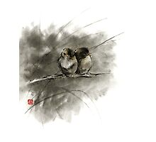 A pair of sparrows two birds brown bird original ink painting artwork Photographic Print