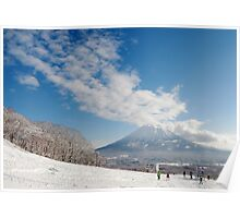 Mt Yotei from the ski slopes Poster