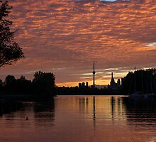 Reflecting on Fiery Skies - Toronto Skyline at Sunset by Georgia Mizuleva