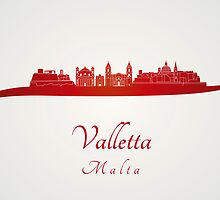 Valletta skyline in red by Pablo Romero