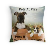 Banner Design for Challenge Winner.  Pets at Play. Throw Pillow